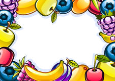 White background with fruits. White background with colorful shiny fruits Royalty Free Stock Photography