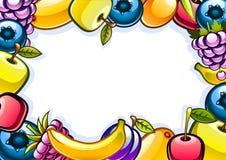 White background with fruits. White background with colorful shiny fruits Royalty Free Illustration