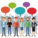 White background with full body group people standing with dialogue box and shadow behind of persons Stock Images