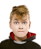 On white background funny boy's face with blue eyes Stock Photos