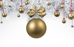 White background with golden Christmas ball. New Year background with white spruce branches and golden Christmas balls. Vector illustration.rrr Royalty Free Stock Photos