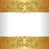 White background. With golden ornaments Royalty Free Stock Photo