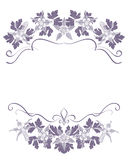 White background with gray-violet floral frame with aquilegia Stock Images