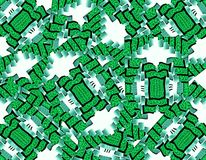 Collage of microelement. White background. Green money. Wallpaper for Web design Royalty Free Stock Images