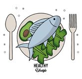 White background of healthy lifestyle with cutlery set and dish with fish and lettuce and avocado. Vector illustration Stock Photo