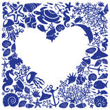 White background heart is surrounded of fishes Royalty Free Stock Photo