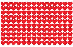 A white background with hearts of a red color. In  format Stock Photography