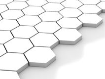 White background with hexagons and place Royalty Free Stock Photo