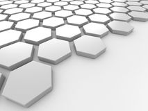 White background with hexagons and place Royalty Free Stock Photography