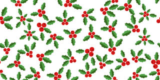 White background with hollyberries Royalty Free Stock Photos