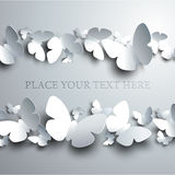 White Background with Horizontal Frame made of cutout Butterflie Stock Photo