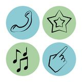 White background with icons on circles of phone and star and music notes and hand. Vector illustration Royalty Free Stock Photography