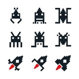 White background with icons space aliens and spatial rocket old arcade game. Vector illustration Stock Illustration