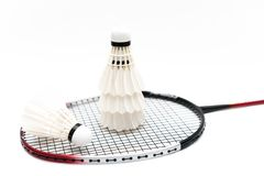 White background image of badminton and racket stock image