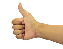 White is the background image for the thumbs. Present participle of appreciation or good or excellent. Stock Photos