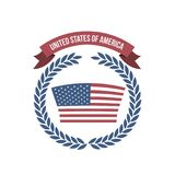 White background of light color flag united states of america with arch of leaves and label tape. Vector illustration Stock Image
