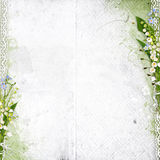 White background with lily of the valley. White spring background with lily of the valley Stock Photo