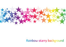 White background with line of stars in rainbow colors with diffe Royalty Free Stock Photos