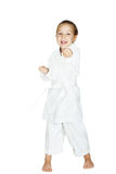 On a white background little girl beat a punch arm Stock Photo
