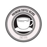 White background of logo design of decorative circular frame with silhouette cup on dish premium coffee beans since 1970. Vector illustration Royalty Free Stock Photos