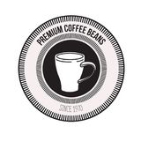 White background of logo design of decorative circular frame with silhouette mug premium coffee beans since 1970. Vector illustration Stock Photography