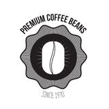 White background of logo design of emblem decorative premium coffee beans since 1970 with grain of coffee. Vector illustration Royalty Free Stock Photos
