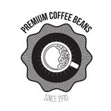 White background of logo design of emblem decorative premium coffee beans since 1970 with top view cup coffee with foam. Vector illustration Stock Photos
