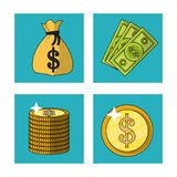 White background with money bag and bills and coins in square frames. Vector illustration Royalty Free Stock Images