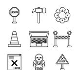White background with monochrome icons of daily error signals. Vector illustration Stock Image