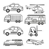 White background with monochrome set of vehicles of public transport and freight and air transport. Vector illustration Stock Photo