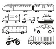 White background with monochrome set of vehicles of transport. Vector illustration Stock Photography