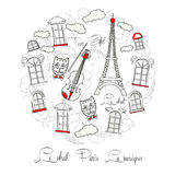 White Background with music and Tour Eiffel Royalty Free Stock Photo