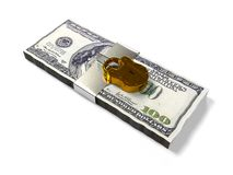 on a white background pack dollars closed lock, the concept of the safe storage  funds, 3d render. On a white background 3d render pack dollars closed lock Royalty Free Stock Photos