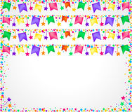 White background for parties with colorful flags on top and space for text below. White party background with colored banners on top and space for text below. To Stock Photo