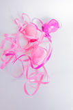 White background pink ribbon. Pink ribbon on the white background Stock Photo