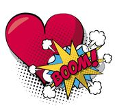 White background pop art style of cloud explosive callout for dialogue with boom text and closeup heart in halftone Stock Image