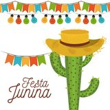 White background poster festa junina with of cactus with hat and festoons and decorative lights. Vector illustration Royalty Free Stock Photography