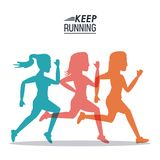 White background of poster keep running with colorful women silhouettes athletes. Vector illustration Royalty Free Stock Image