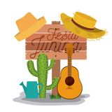White background poster with wooden fence of festa junina with of cactus guitar and hat and watering can. Vector illustration Royalty Free Stock Images