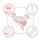 White background with red color sections of silhouette brain organ with circular frame elements health. Vector illustration Stock Photos