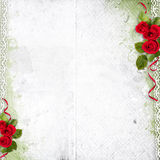 White background with red roses and lace Royalty Free Stock Photography