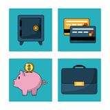 White background with safe box and credit cards and money box and executive briefcase in square frames. Vector illustration royalty free illustration