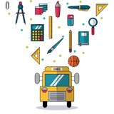 White background with school bus in closeup and colorful smaller icons of elements of school. Vector illustration Royalty Free Stock Photos