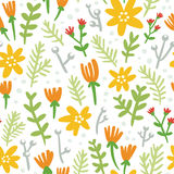 White background seamless pattern with colorful flowers Royalty Free Stock Image