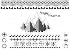 Christmas symbols, snowflakes, Christmas trees, borders and greetings. White background with set of Christmas symbols, snowflakes, Christmas trees, borders Royalty Free Stock Photography