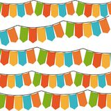 White background with set of colorful festoons in shape of rectangles. Vector illustration vector illustration