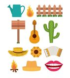 White background with set of elements of festa junina. Vector illustration Stock Photography