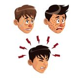 White background set faces various sickness symptoms people male. Vector illustration Stock Photo
