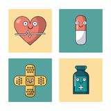 White background with set of frames with heart pulse and pill and ban aid and medicine bottle. Vector illustration Royalty Free Stock Image