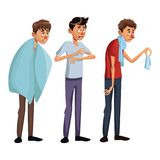 White background set full body standing various sickness symptoms people male. Vector illustration Stock Image
